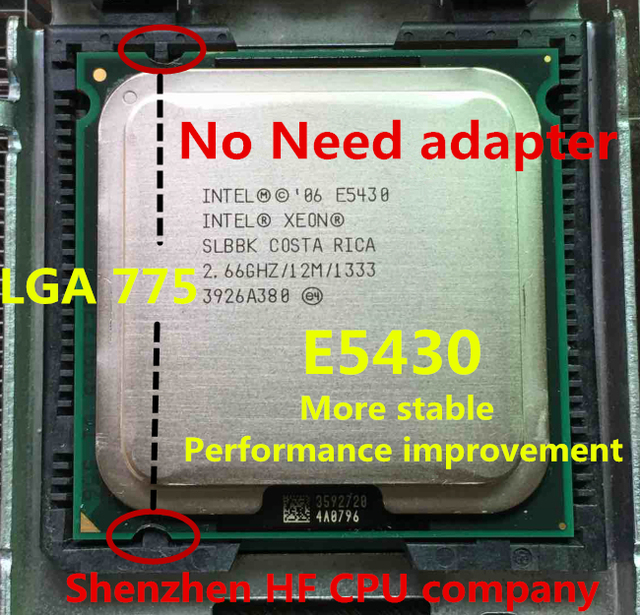 lntel Xeon E5430 2.66GHz/12M/1333Mhz/CPU equal to LGA775 Core 2 Quad Q9300 CPU, works on LGA775 mainboard no need adapter e5430