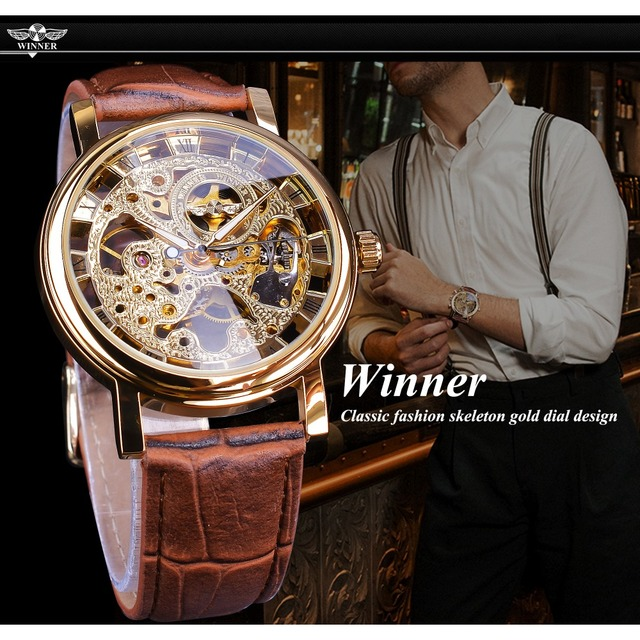 Winner Transparent Golden Case Luxury Casual Design Brown Leather Strap Mens Watches Top Brand Luxury Mechanical Skeleton Watch 3