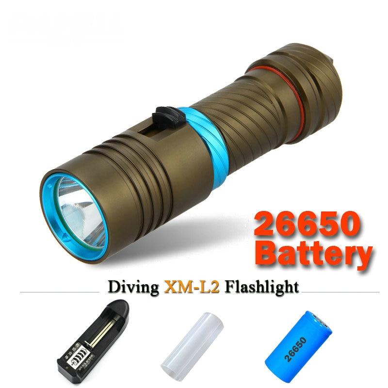 powerful led diving flashlight cree xm l2 Underwater lamp scuba lanterna waterproof linterna zaklamp26650 or 18650 LED torch