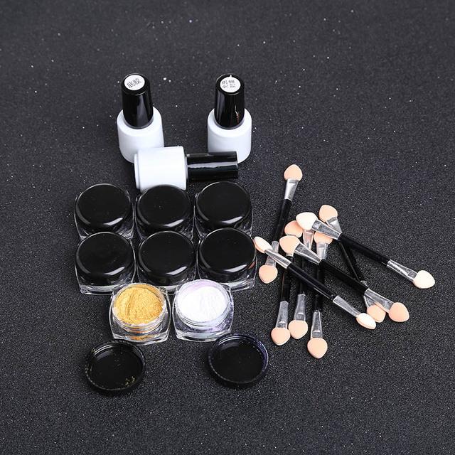 19 unids/set Fashion Beauty Nail Art Camaleón Espejo UV Gel Glitter Polvo De Cromo Negro Mini Pincel de Alta Calidad