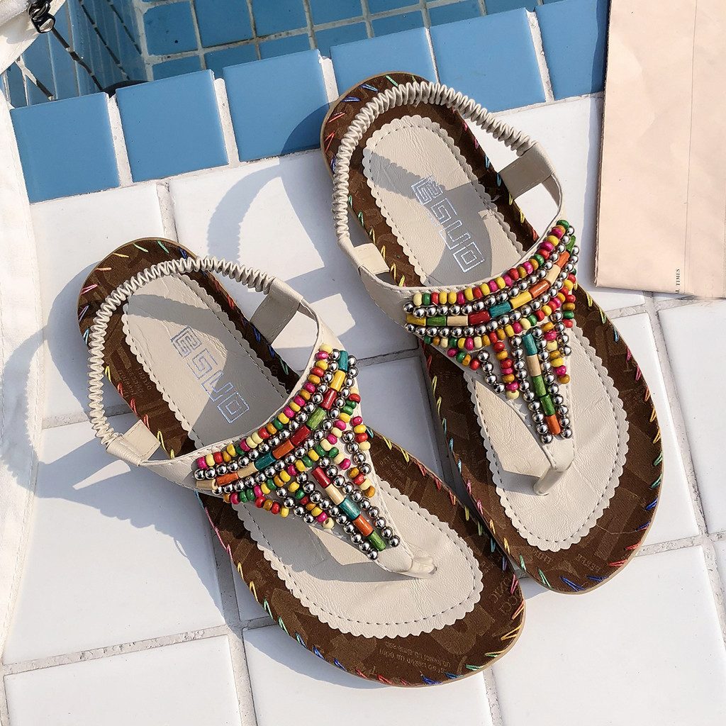 New High Quality Ladies Beaded Boho Casual Shoes Open Toe Flat Sandals Fashion Outdoor Work Cool Shoes 2019 Sandalias Mujer 30New High Quality Ladies Beaded Boho Casual Shoes Open Toe Flat Sandals Fashion Outdoor Work Cool Shoes 2019 Sandalias Mujer 30