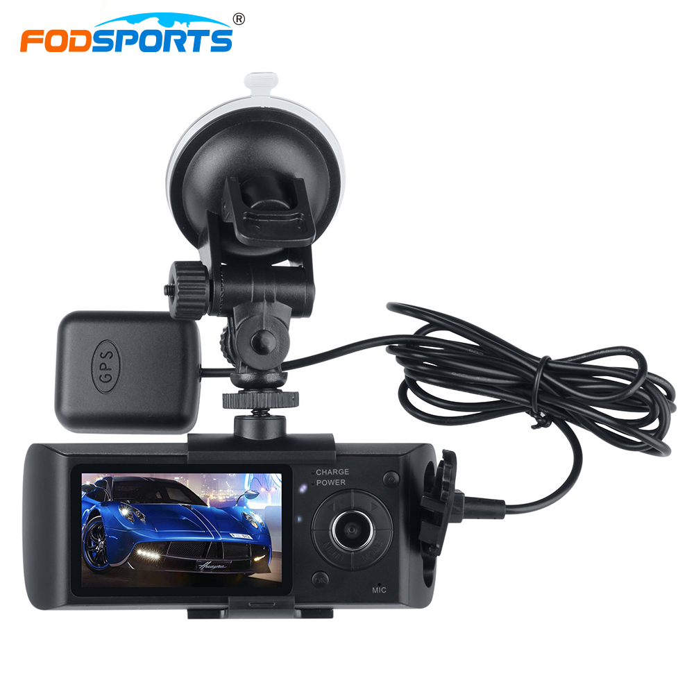 цены на Fodsports R300 Motorbike Camera 2.7 Inch Car DVR Double Glass Lens 140 Degree Wide Angle Recorder Support GPS Module G-Sensor