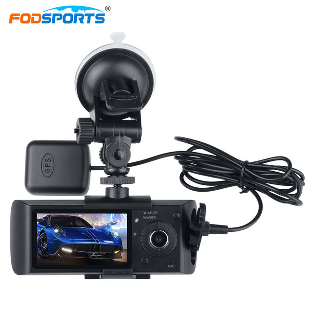 Fodsports R300 Motorbike Camera 2.7 Inch Car DVR Double Glass Lens 140 Degree Wide Angle Recorder Support GPS Module G-Sensor