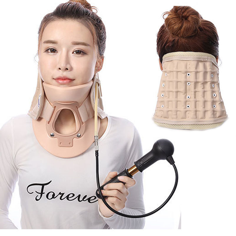 Adult Inflatable Cervical Traction Support Fixed Neck Head Posture Corrector Collar Neck Brace Massage Back Pain Relief Therapy new neck cervical traction device inflatable collar head back shoulder neck pain headache health care massage device