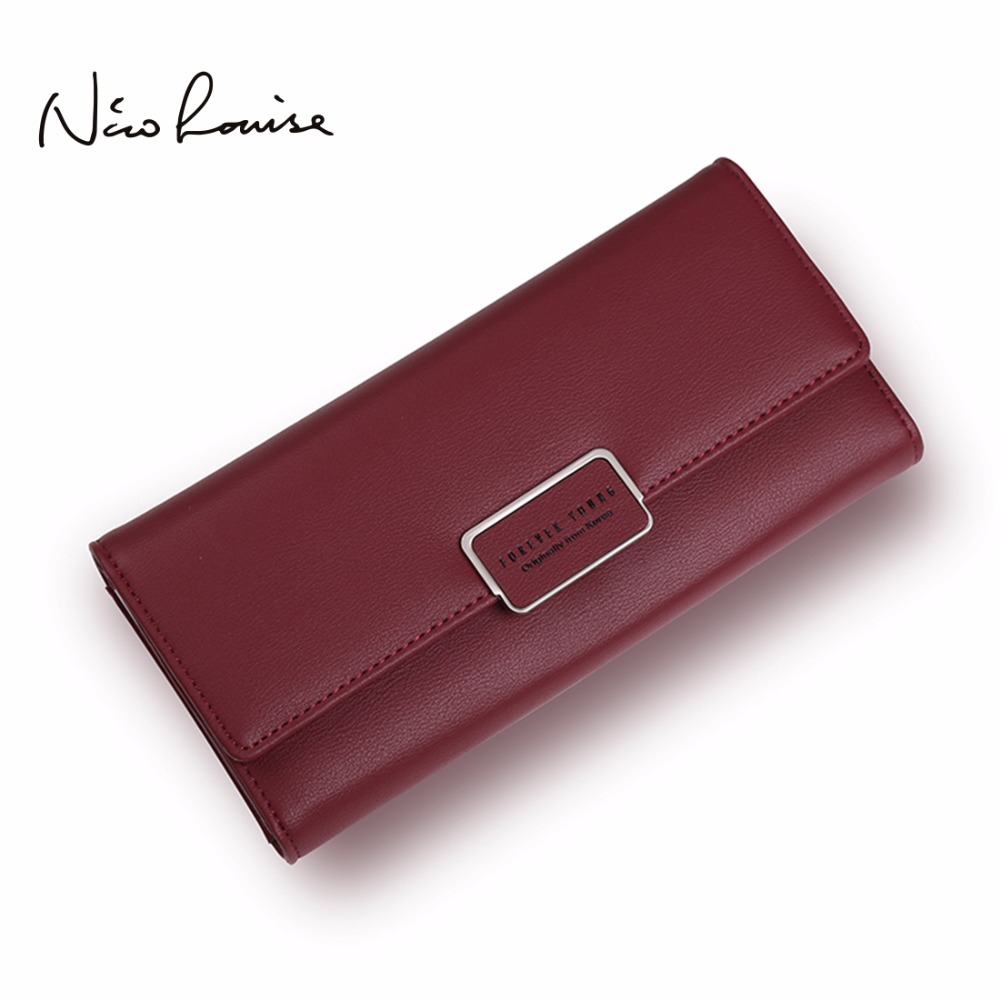 Fashion Elegant Women Long Leather Wallet Portable Multifunction Solid Color Purse Hot Female Change Purse Lady Clutch Carteras new women fashion leather hasp tri folds wallet portable multifunction long change purse hot female coin zipper clutch for girl
