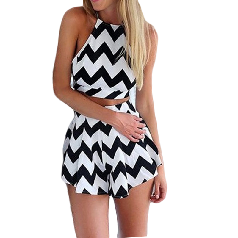 Hot sale European and American style women   jumpsuit   2019 fashion print strap striped halter sexy thin clothing 123