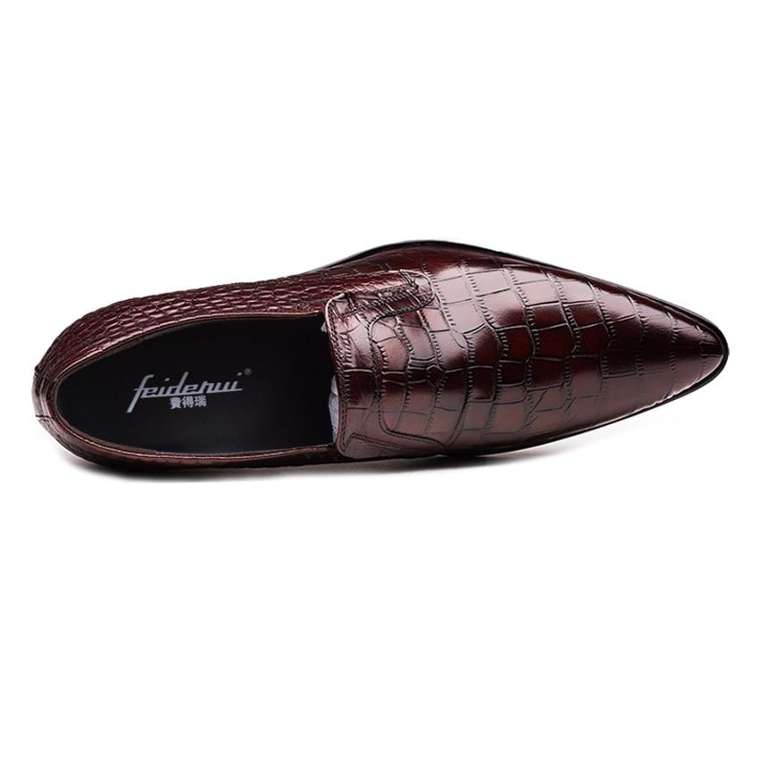 Deslizamiento Casuales Hombres Calzado marrón Zapatos Negro En Hecho Holgazanes Genuino De Punta Hombre Ymx441 Mano Nueva Vestido Cocodrilo Cuero Llegada A Formal UEv8qv