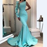 3db54d850c7b2 Sky Blue Simple Satin Mermaid Evening Dresses One Shoulder Long Sleeves Sweep  Train Long Prom Dress