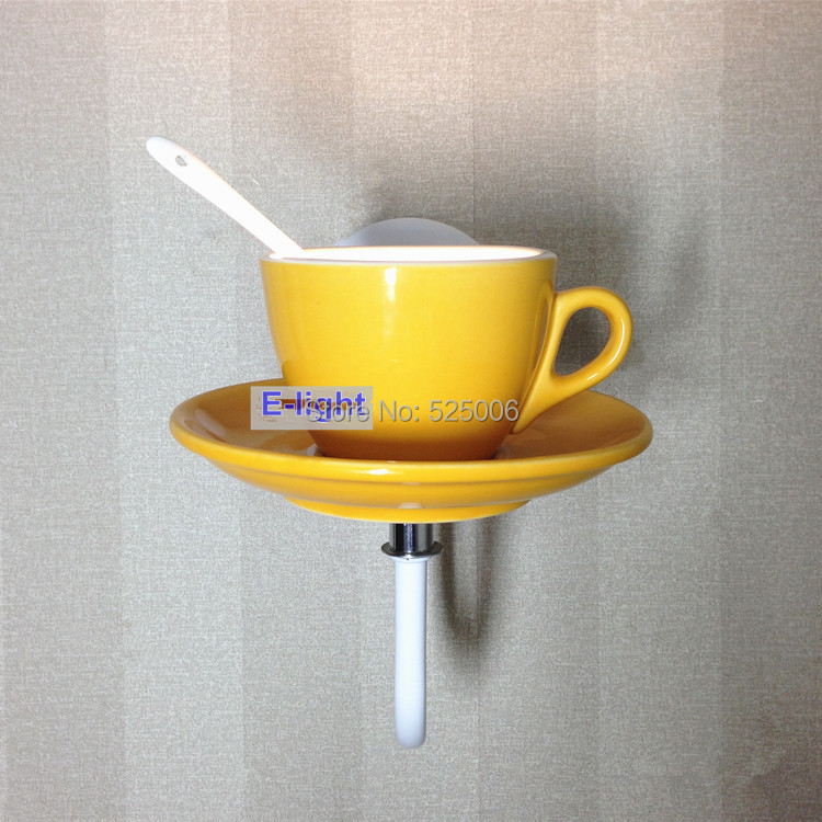 Modern bone china personalized coffee cup wall lamps bar ceramic ...