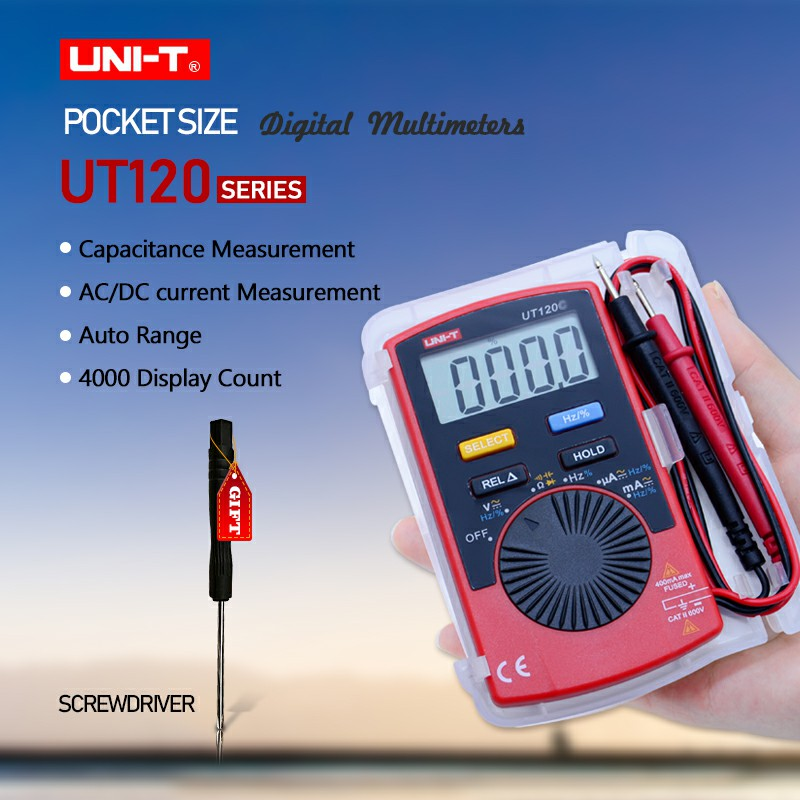 Mini Digital Multimeter UNI-T UT120 series Digital LCD Palm Size Auto Range Multimeter DC AC Pocket