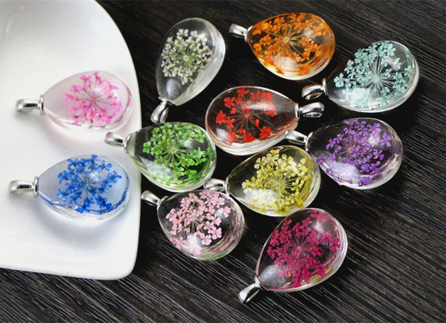 5pcs 31x18x5mm Hot sale Jewelry Crystal Glass Real Dried Flower Drop Necklace Pe