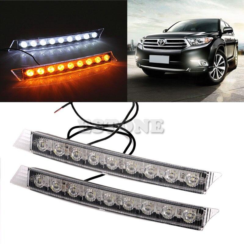 Auto LED Lights 2x 9LEDs Daylight Daytime Running Driving DRL LED Light Yellow Turn Signals Car Exterior Light Bulbs