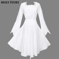 Long Sleeve Vintage Lace Gothic Dress Black/White Steampunk Dress