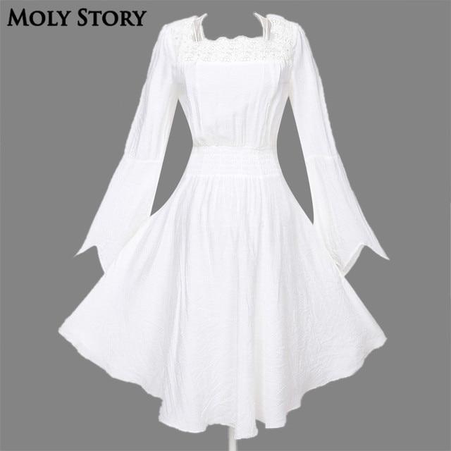 Langarm Vintage Spitze Gothic Kleid Schwarz/Weiß Steampunk Kleid in ...