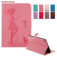 For Coque iPad Mini 4 Smart Cover Woman and Cat Embossed Flip PU Leather Magnetic Closure Stand Case for Apple iPad Mini4
