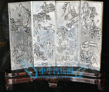 Chinese Boutique collection Tibetan silver carving The fishing qiao geng read folding screen