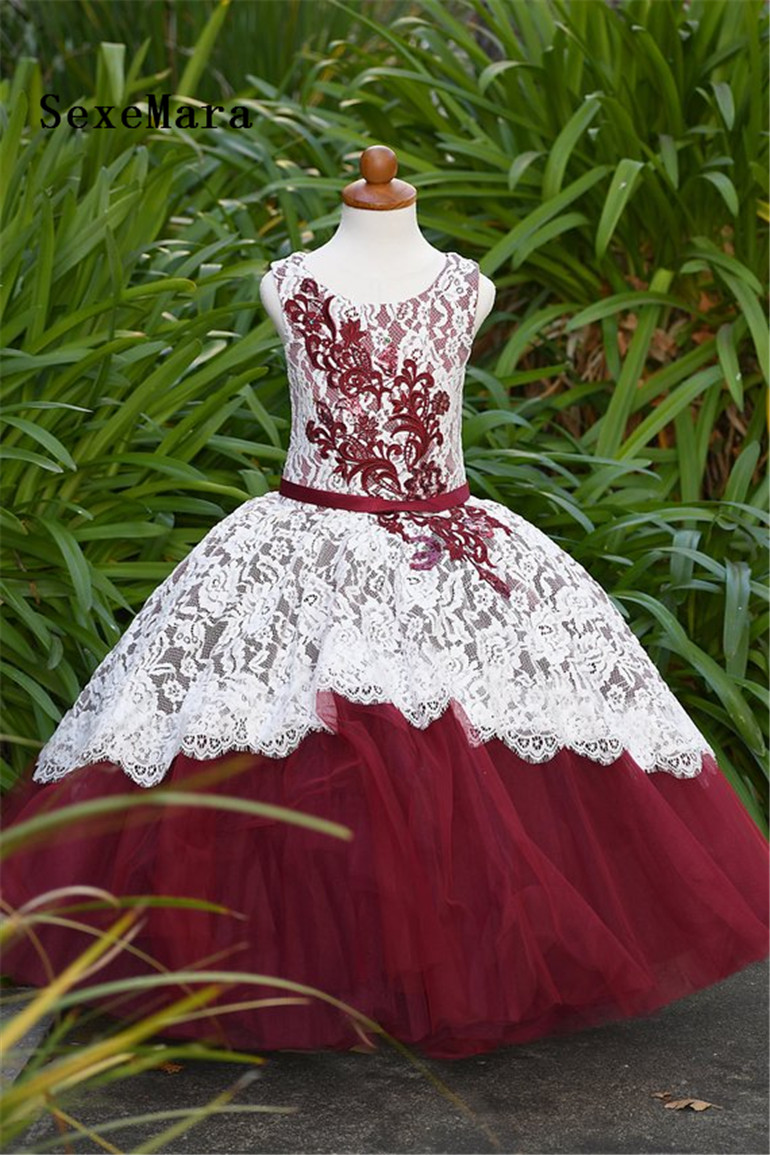 fafc36d387c Maroon And White Flower Girl Dresses - raveitsafe