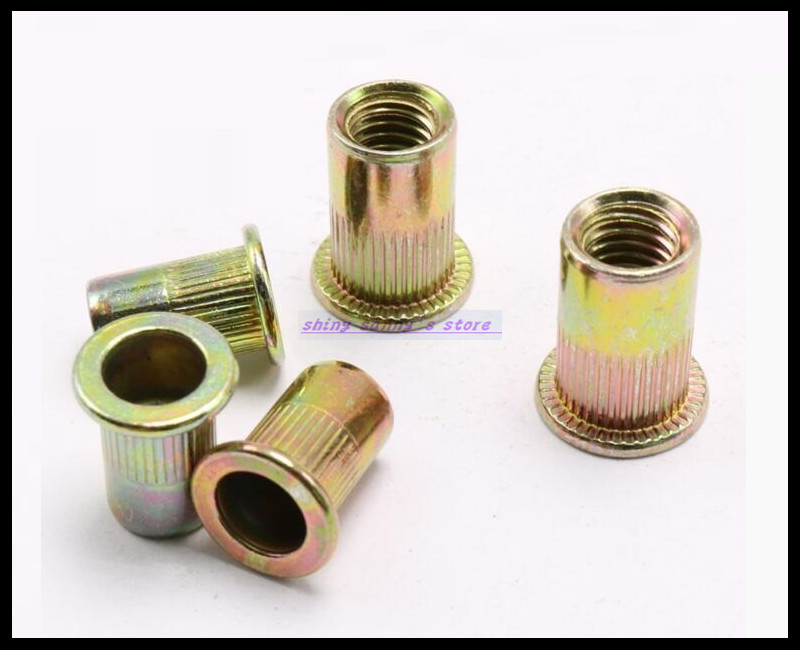 25-200 pcs/Lot Metric Thread M3 M4 M5 M6 M8 M10 M12 Carbon Steel Flat Head Insert Rivet Nut Flat Head Rivet Nut Brand New