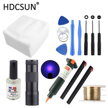 14 in1 LOCA tp-2500 UV Glue +UV curing light+Uv Glue Remover +Cutting Wire+clothes +phone pry tool For LCD Touch Screen Repair 20w fast uv curing led light lamp for mobile touch lcd screen repair