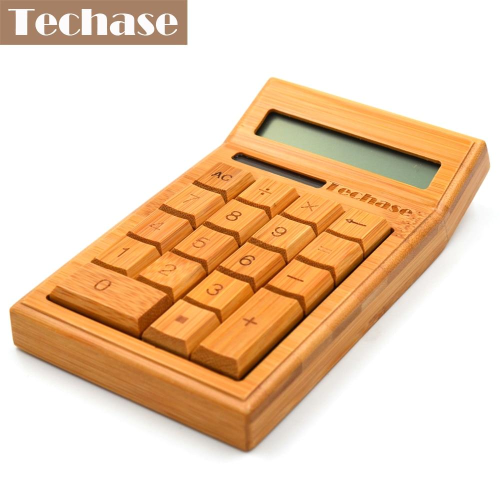 Techase CS19 Հաշվիչ Բամբուկե արևային հաշվիչ փայտի գիտական հաշվիչ 12bits 18keys Hesap Makinesi Calculadora Financeira