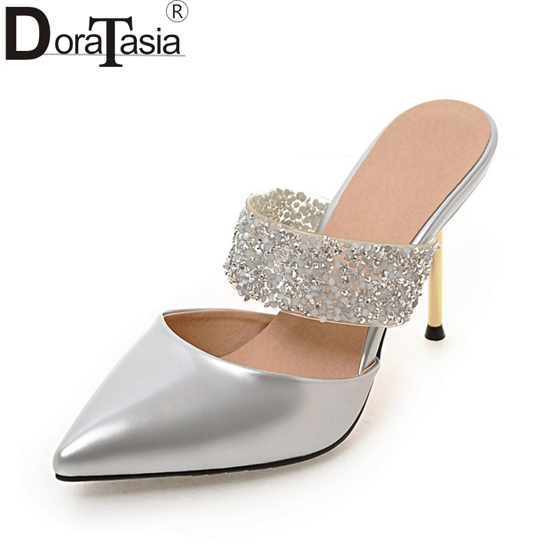 Doratasia Plus Size 32-43 Pointed Toe Thin High Heels Women Shoes Pumps Woman Sexy Party Wedding Bride Mules Shoes Woman brand shoes woman spring summer rainbow women pumps high heels fashion sexy slip on pointed toe thin heel party wedding shoes