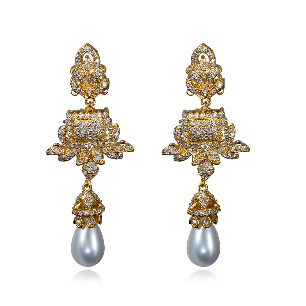 New Big Drop Earrings With White Cz Imitation Pearl