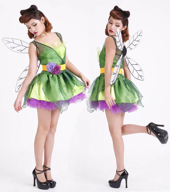 a6bdb2f1ff557 US $21.99 |2016 New Adult Womens Sexy Halloween Party Green Elf Costumes  Outfit Fancy Flower Fairy Cosplay Dresses With Wings-in Holidays Costumes  ...