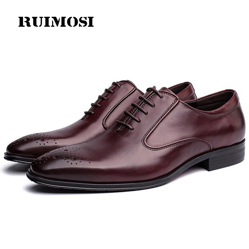 RUIMOSI Vintage Man Breathable Brogue Shoes Genuine Leather Formal Dress Oxfords Pointed Derby Wedding Bridal Men's Flats GD43