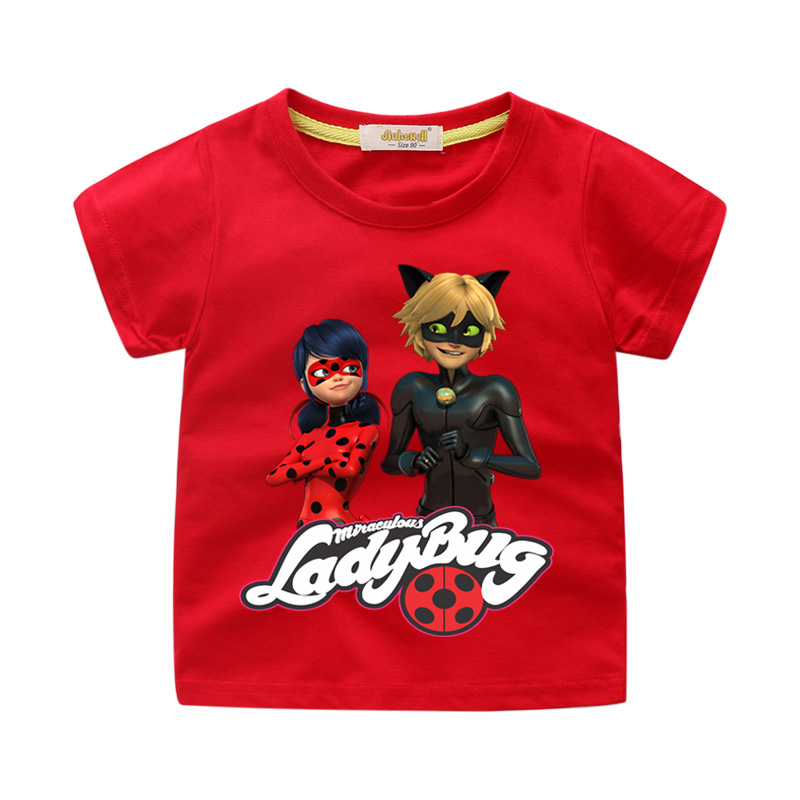 Kids Miraculous Ladybug Costume For Boy Summer Cartoon 3D Lady Bug T-shirt Clothes Girls Tshirt Clothing Children Tee Tops WJ126 children summer hot shooting game print t shirt clothing for boy t shirts girls short tee tops clothes kids tshirt costume dx063