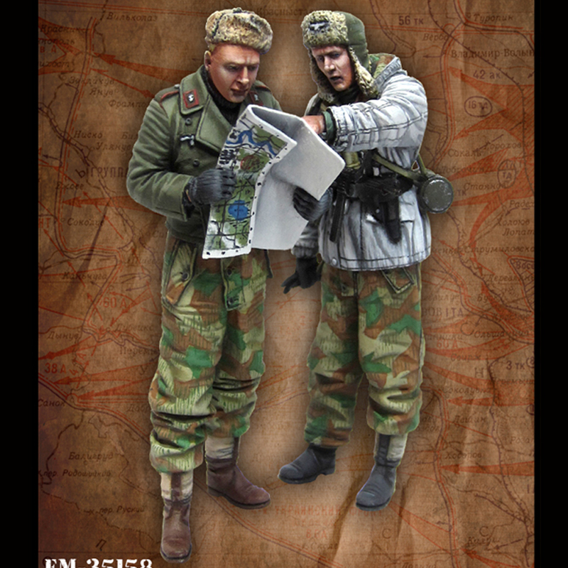 Resin figure 2pcs/lot <font><b>1/35</b></font> <font><b>model</b></font> <font><b>kits</b></font> German tank thrower soldiers unpainted and unassembled image