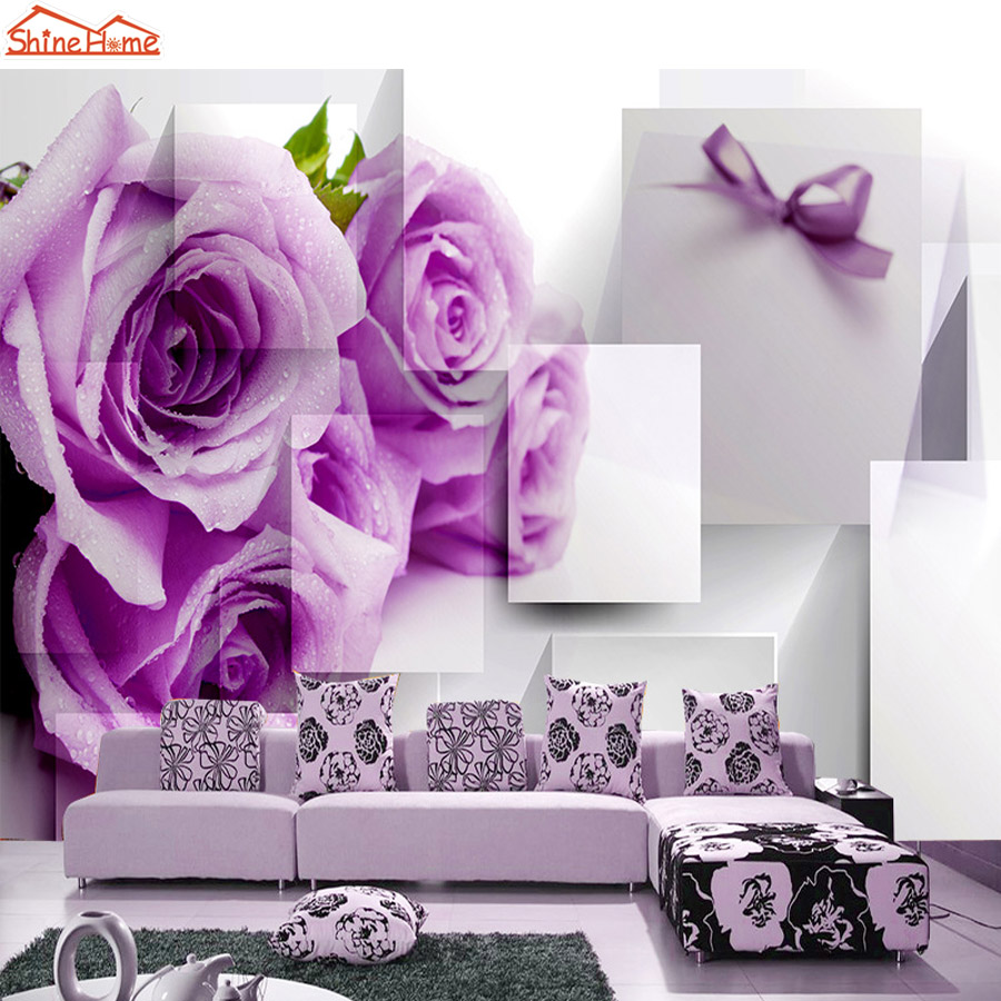 ShineHome-Purple Rose Floral Brick Wallpapers Rolls 3d Photo Wallpaper for Walls 3 d Livingroom Wall Mural Roll Paper Home Decor shinehome 3d room floral wallpaper nature brick wallpapers 3d for walls 3 d livingroom wallpapers mural roll wall paper covering