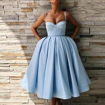 Sky Blue Prom Party Dresses Adult Sexy Spaghetti Strap V Neck GraduationFormal Dresses Knee Length Party Gown Vestides de festa