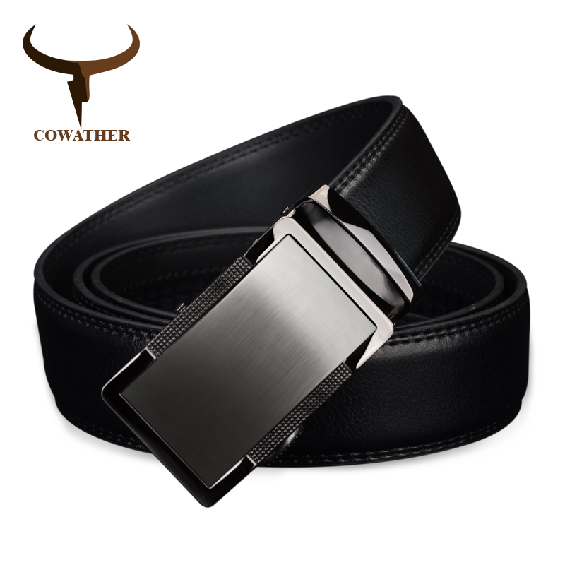 COWATHER 2018 luxury men`s genuine leather   belts   for men automatic alloy buckle better gifts business choice top quality