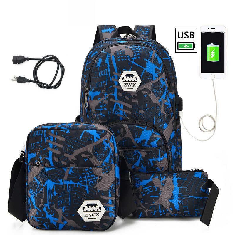 3 шт./компл. USB мужские рюкзаки Высокие Школьные рюкзаки для девочек 2019 Мальчики одно плечо большая Студенческая дорожная сумка мужской школьный рюкзак mochila