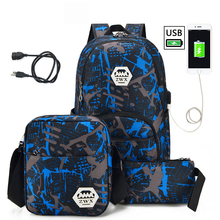 3 sztuk zestaw USB męskie plecaki wysokie torby szkolne dla kobiet 2019 chłopcy jedno ramię duża torba podróżna dla studentów męski plecak szkolny mochila tanie tanio SHUAI LONG Oxford zipper Kamuflaż 9941 Dziewczyny 15cm 0 75kg 30cm 46cm School Bags USB backpack Fashion Backpack Leisure backpack