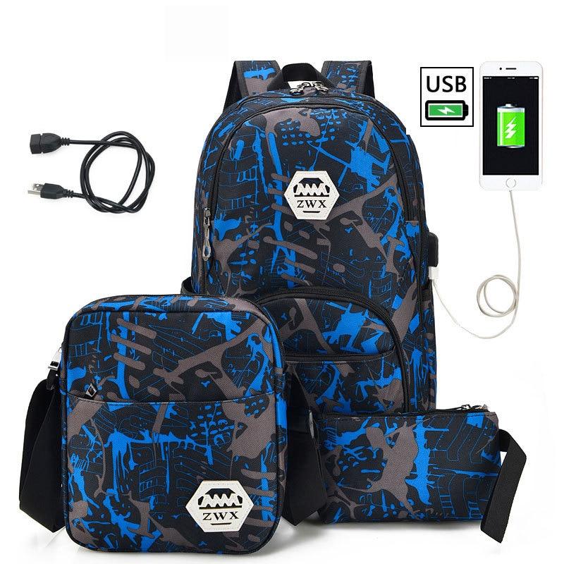 3pcs/set USB Male backpacks high school bags for women 2019 boys one shoulder big student travel bag men school backpack mochila