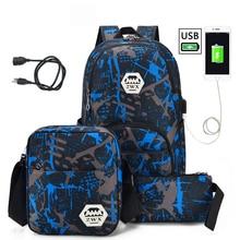3pcs/set USB Male backpacks high school bags for women 2019 boys one shoulder big student travel bag men backpack mochila