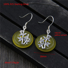 100% 925 Sterling Silver Dangle Earrings Natural Yellow Carneol Vintage Ethnic Style Silver Bamboo Earring for Women Jewellery 925 sterling silver hooks 100% natural rainbow obsidian stone pendant vintage dangle fashion earrings for women 1 pair ls908