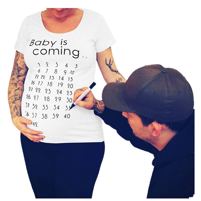 Bebê está Chegando T-Shirt Tops Maternidade Roupas Mama Mulheres Calendário de Contagem Regressiva Gravidez Tee Marca de Desconto Bebê Announcment Tshirt