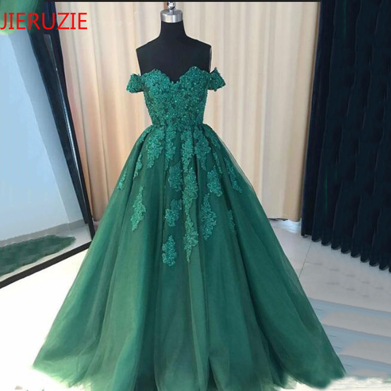 JIERUIZE Dark Green Lace Appliques Ball Gown Wedding Dresses 2019 Sweetheart Off the Shoulder Cheap Wedding
