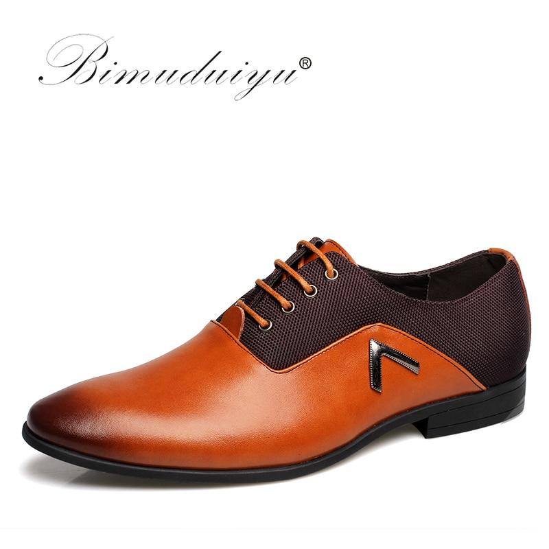 BIMUDUIYU Plus Size 6.5-12 Formal Leather Men Dress Shoes Elegant - Kasut lelaki