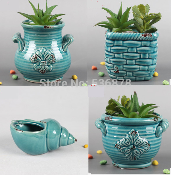 4 Pieces Ceramic Porcelain Planter Plant Bonsai Pot Container Indoor Outdoor Succulent Herb Flower Home Decoration