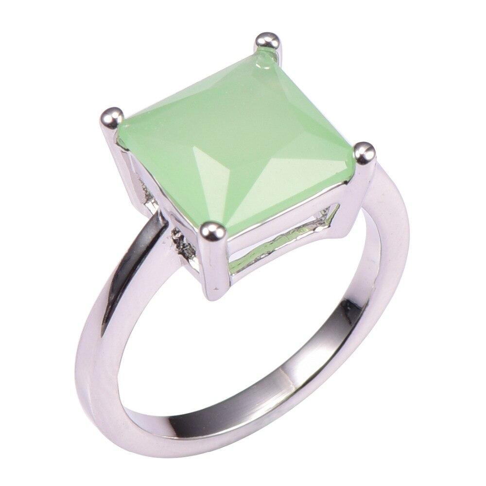 Simulated Prehnite 925 Sterling Silver Wedding Party Fashion Design Romantic Ring Size 5 6 7 8 9 10 11 12 PR45