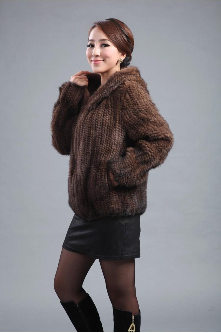 ZDFURS * neue gestrickte echte Nerz Pelzmantel Frauen Top Fashion - Damenbekleidung - Foto 4