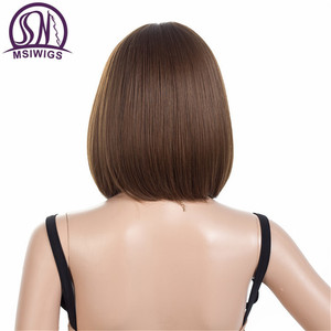 Image 3 - MSIWIGS Brown Short Wigs Bob Style Straight Synthetic Black Womens Wig with Bangs 12 Inches Soft Hair Blonde Wig