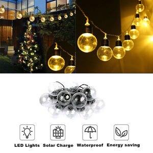 Image 4 - LED Outdoor Solar Lamp 9M 50 LED Clear Globe Bulbs Solar Led String Fairy Light Outdoor Solar Globe Patio Party Wedding Garland