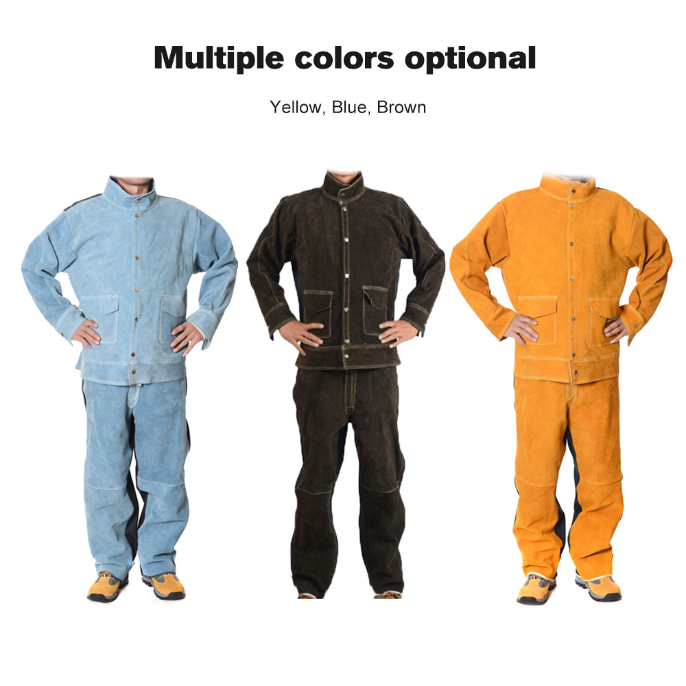 Cowhide+Jean Welding Suits Heat Resistant Heavy Duty Welding Suit Wear resistant Working Clothing Welding Protective Clothes-in Safety Clothing from Security & Protection    1