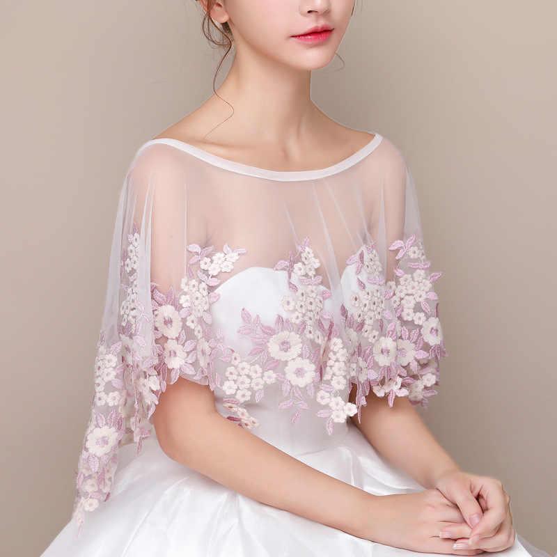 Белый Для женщин Болеро летние кружевные Свадебная шаль накидка цветочной вышивкой Свадебная накидка элегантная женская накидка Свадебная