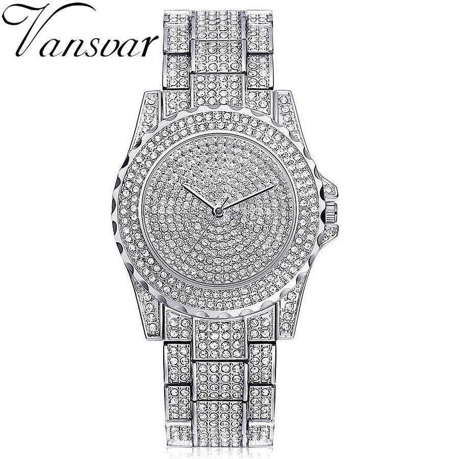 Dropshipping Luxury Women Rhinestone Crystal Watch Fashion Casual Women Stainless Steel Wristwatches Relogio Feminino