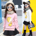4 5 6 7 8 9 10 11 12 13 Years Teenage Girls Fashion T Shirt Cartoon Warm Winter T-shirt For Girls Plus Velvet Bottoming Shirts